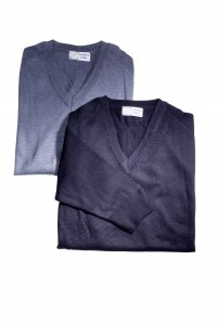 Prestige Diffusion - Pull Col V - Manches Longues - Marine, Bleu Ciel