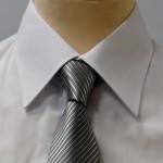 Prestige Diffusion - Cravate Rayée Ton Sur Ton - Gris Clair
