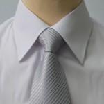 Prestige Diffusion - Cravate Rayée Ton Sur Ton - Gris Très Clair
